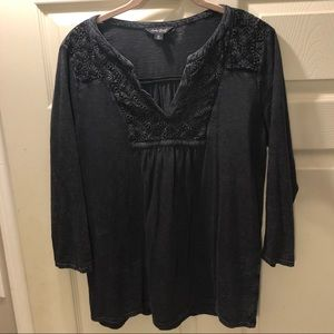 Lucky brand blue top with  3/4 sleeve
